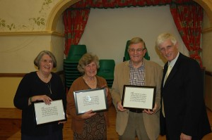 Betty, Janet and Derek getting their Community Awards