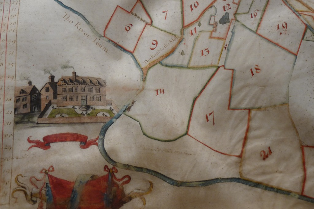 Photo showing part of an estate map of the manor of Moor, 1721 - click to enlarge