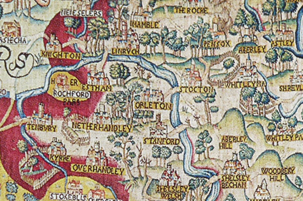 Part of a tapestry map of Worcestershire, courtesy of the Victoria and Albert Museum, London - Click to take a closer look